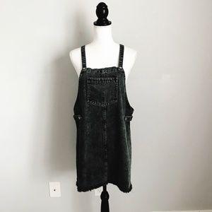 Pol Black Acid Wash Denim Overall Dress